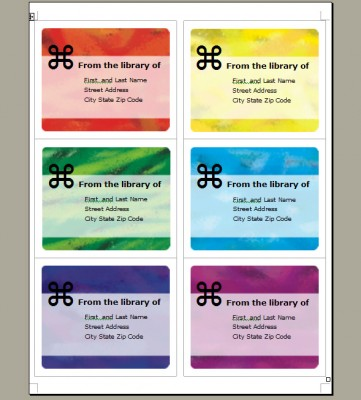 Bookplate label template brushed rainbow for Bookplate templates for word